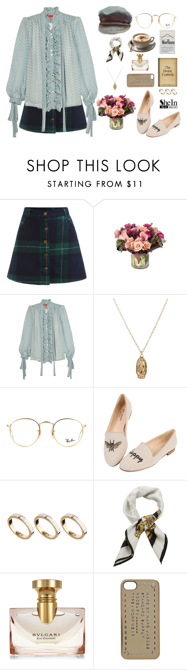 """Green Blue Plaid Buttons Skirt"" by gabychinchilla ❤ liked on Polyvore featuring Jayson Home, RVDK, ASOS, Ray-Ban, Jon Josef, Alighieri, Givenchy, Bulgari and Marc by Marc Jacobs"