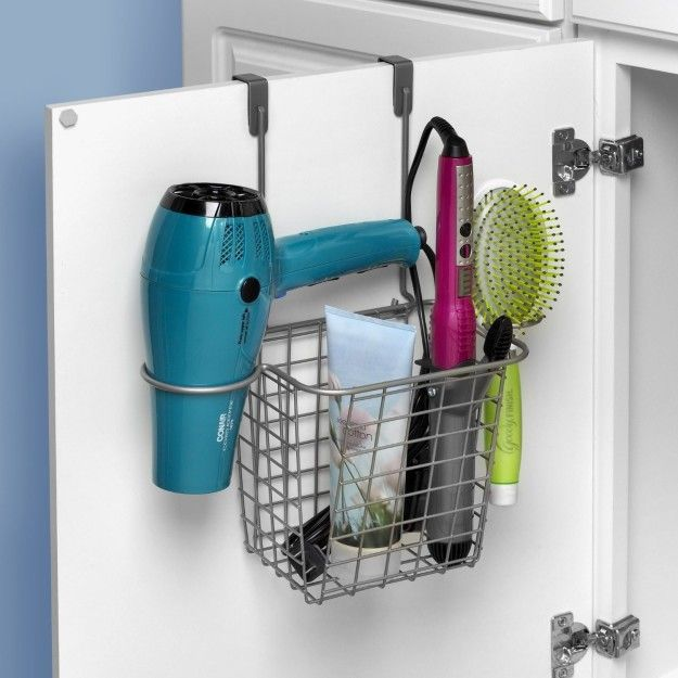 This over-the-door mounted basket that saves space in your bathroom.
