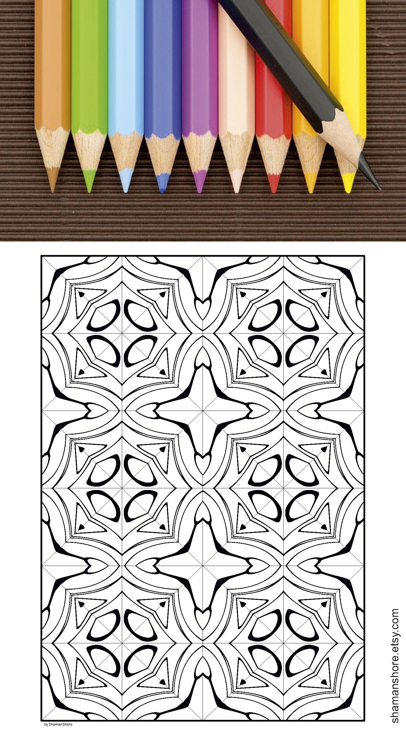 35 Abstract Kaleidoscope Coloring Pages for Adults ...