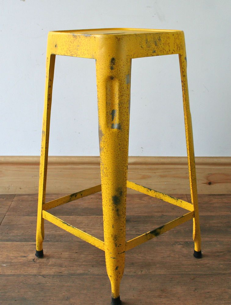 Industrial Metal Bar Stool Yellow Distressed Rust Finish