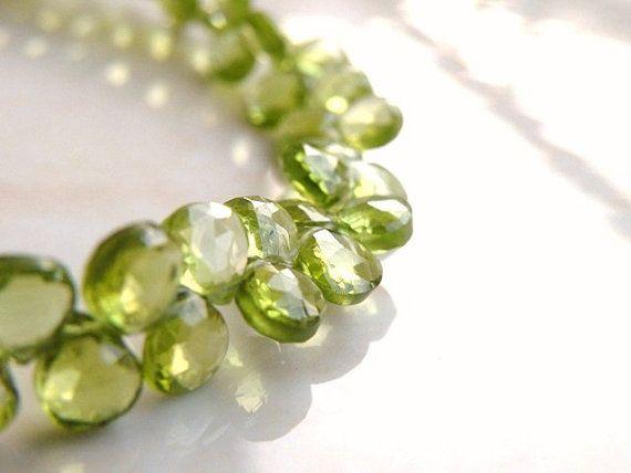 Gorgeous green peridot heart briolette gemstone.
