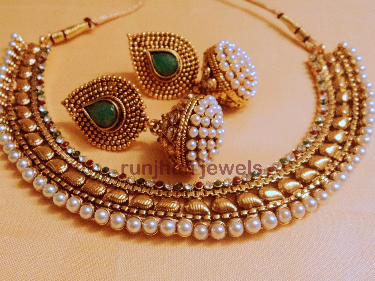 Gold necklace designs with price in rupees jewelry gallery - Pearl Polki Choker Jewellery