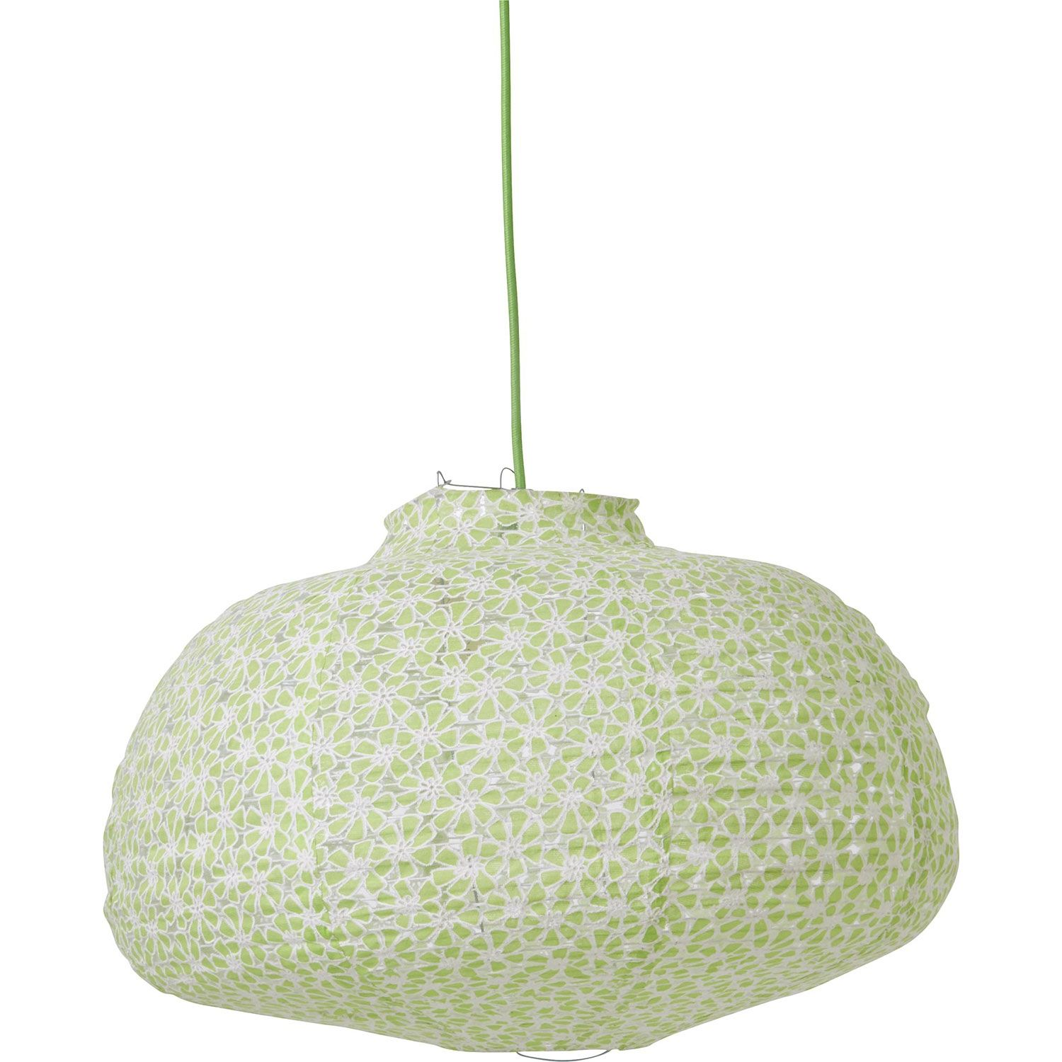 Lamp Shade In Pastel Green And White Flower Fabric