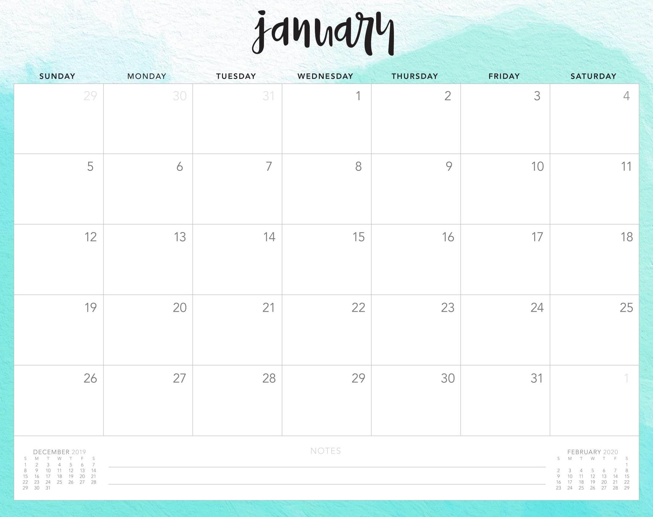 Cute January 2020 Desk Calendar   2020 calendar template ...