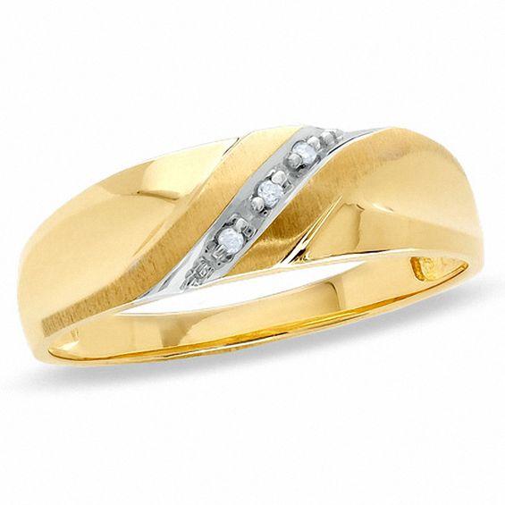 Men S Diamond Accent Slant Wedding Band In 10k Gold In 2019