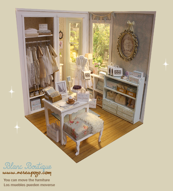 "DIORAMA ""BLANC BOUTIQUE Shop "" Dollhouse Miniature"