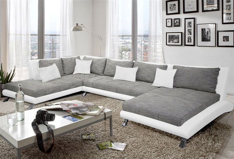 canap d 39 angle en pu blanc et tissu gris duccio 2 salon. Black Bedroom Furniture Sets. Home Design Ideas