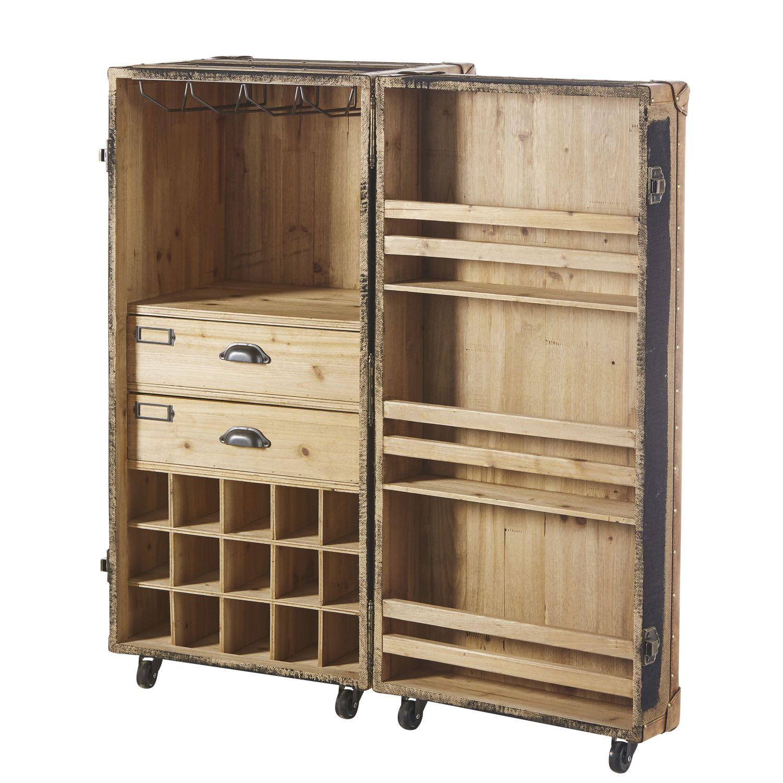 Malle Bar Sur Roulette Style Indus Locker Storage Storage Bar Unit