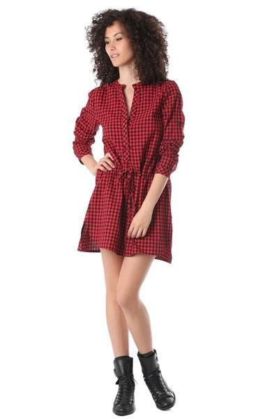 Red shirt dress in check printed fabric: Red checked dress with long sleeves and V-neck. Waist string and stud detailed shoulders.  100% Cotton  https://foringstore.com