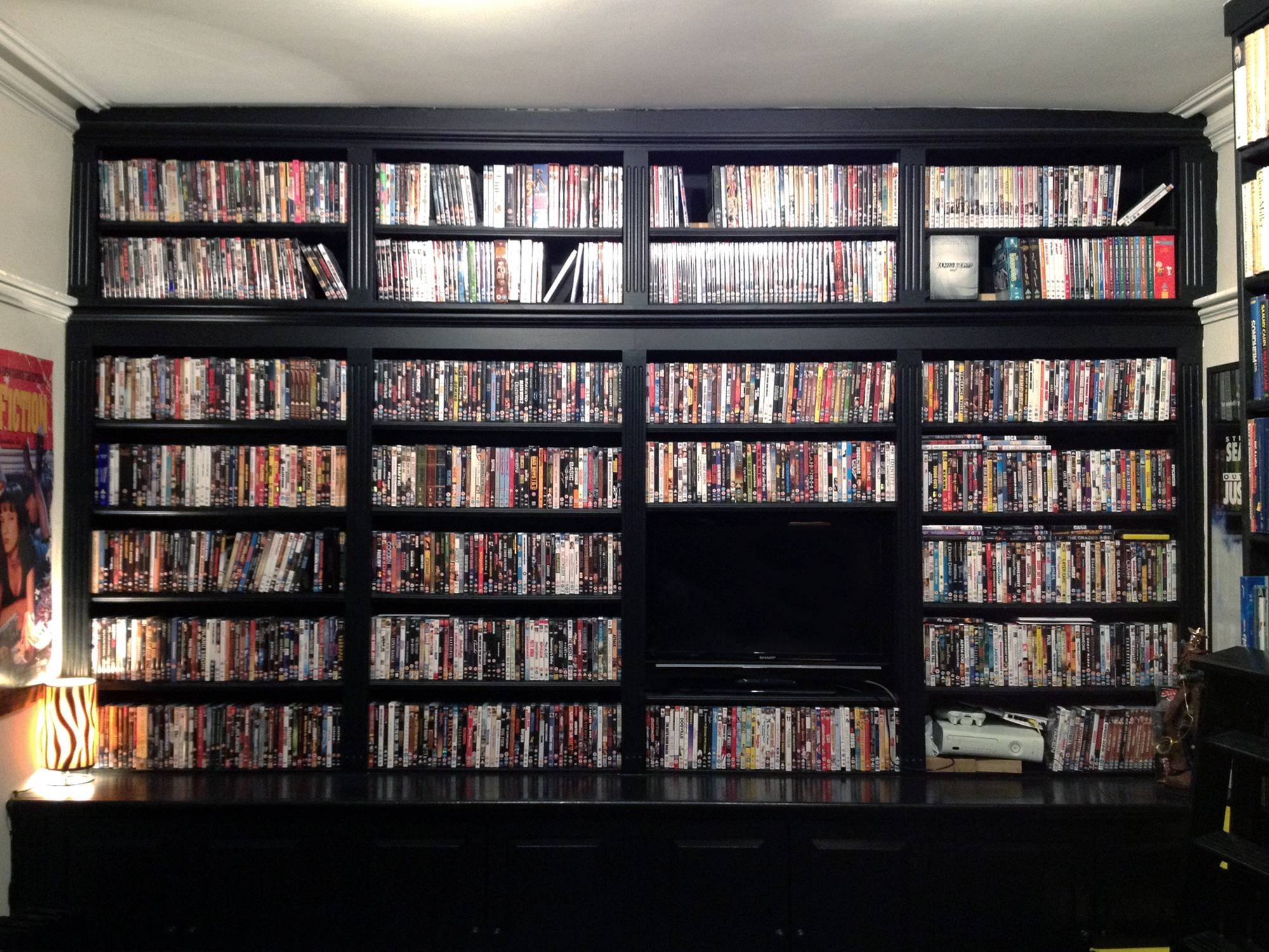 Built-in DVD shelves