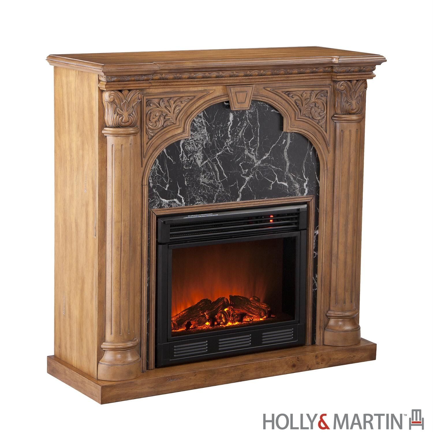 chimney free electric fireplace and tv stand of oak wood rh pinterest com