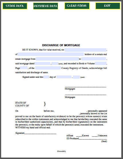 Discharge Of Mortgage Certificate  Forms