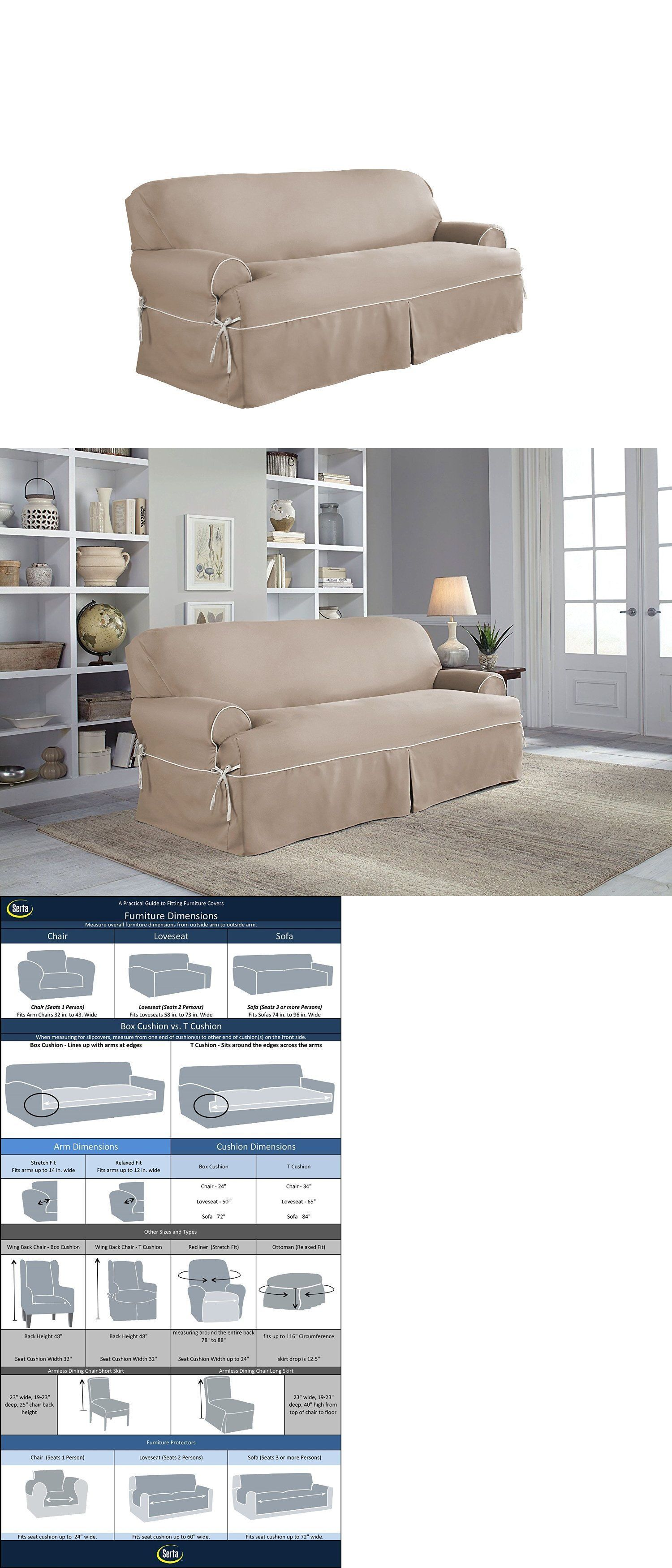 Slipcovers Serta Relaxed Fit Twill Furniture Slipcover For