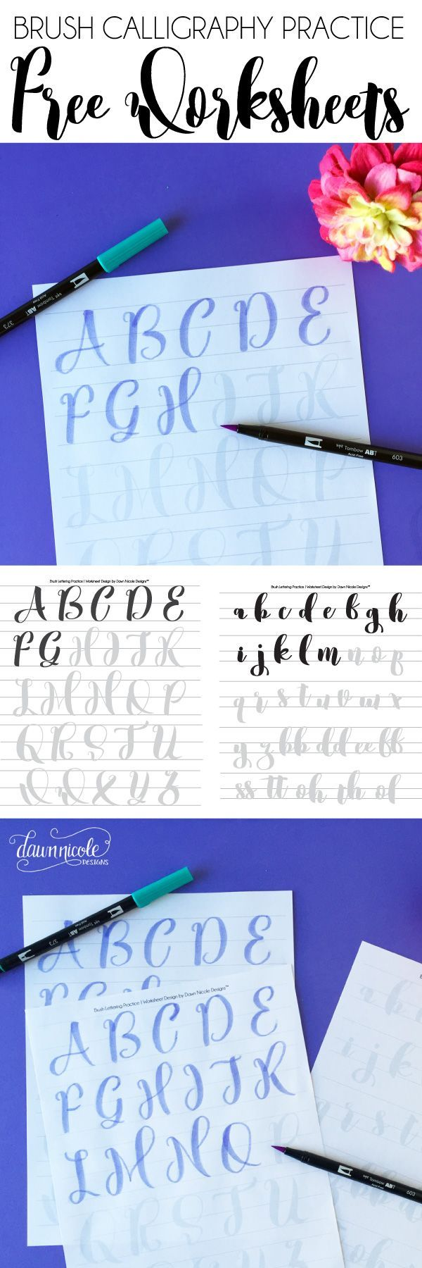 Free Brush Calligraphy Practice Worksheets | by Dawn Nicole | Bloglovin'