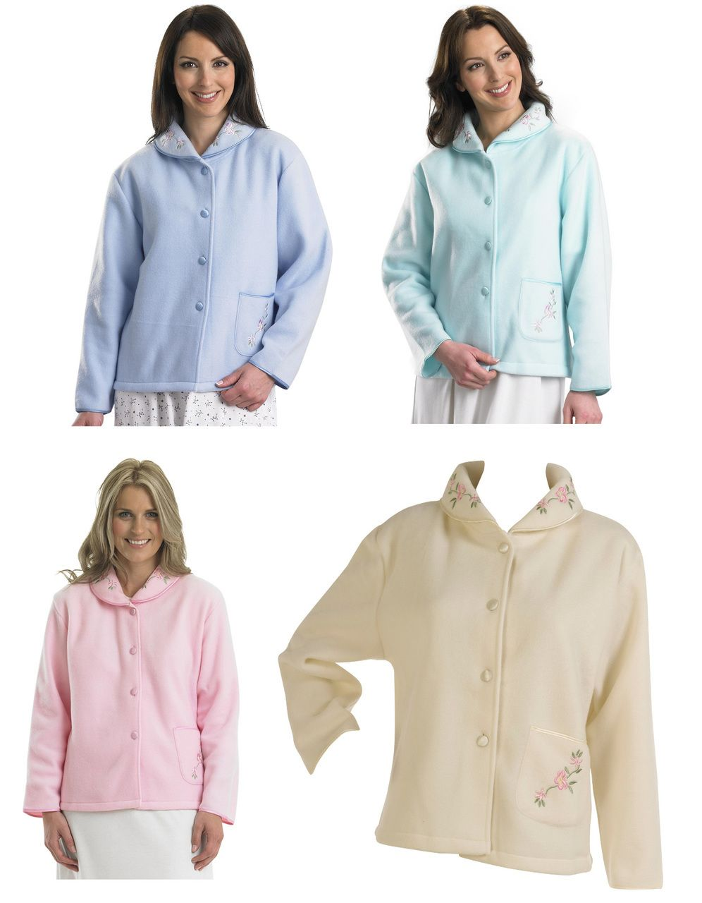 Slenderella Ladies Polar Fleece Floral Embroidered Bed Jacket (Various  Colours) - Mill Outlets 081909c91