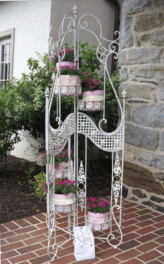 Vintage Wrought Iron Plant Stand Garden Decor By Colorz