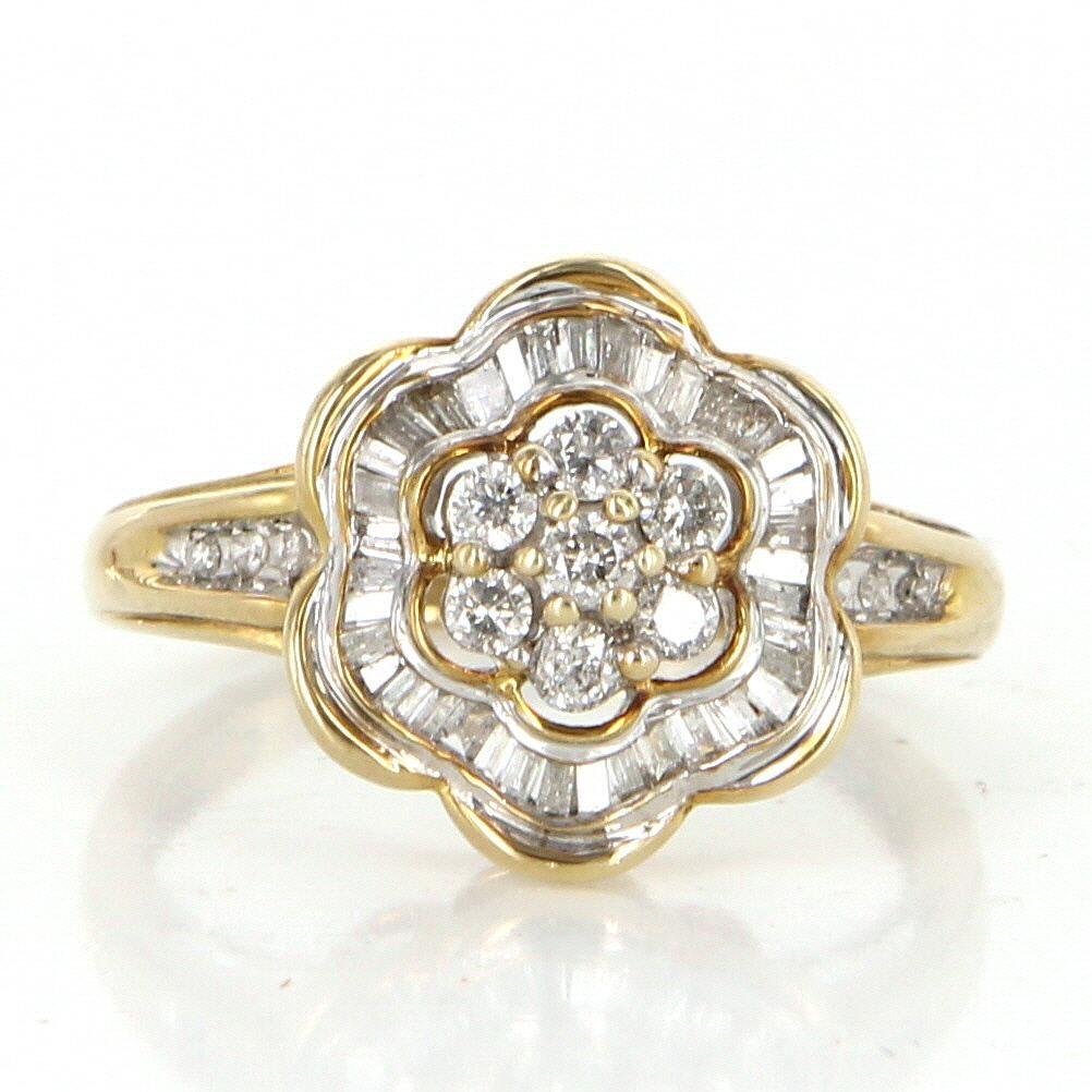 Vintage Diamond Flower Cluster Cocktail Ring 10 Karat Yellow Gold Estate Jewelry 7 Vintage Diamond Estate Jewelry Vintage Jewels