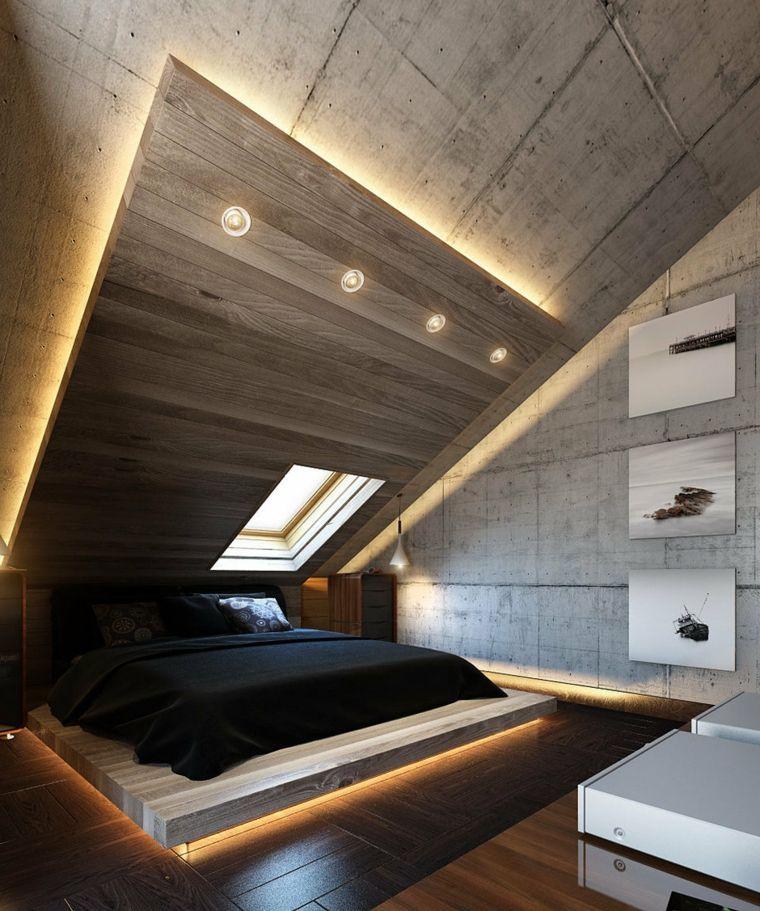 Camera Da Letto Con Soffitto Di Legno Illuminazione Nascosta Zona