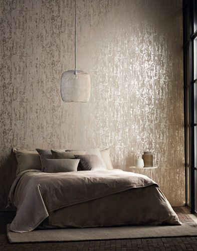 Silver grey luxurious textured wallpaper by harlequin for Grey bedroom wallpaper