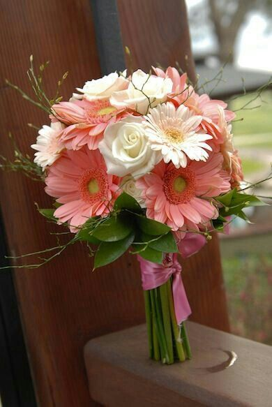 Hand Tied Wedding Bouquet: White Roses, Pastel Pink Gerbera Daisies, Pink Gerbera Daisies, Green Foliage