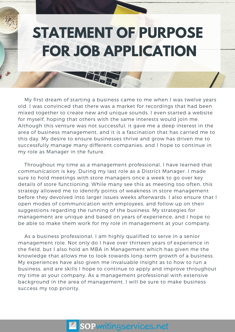 Help with Statement of Purpose for Job Application http