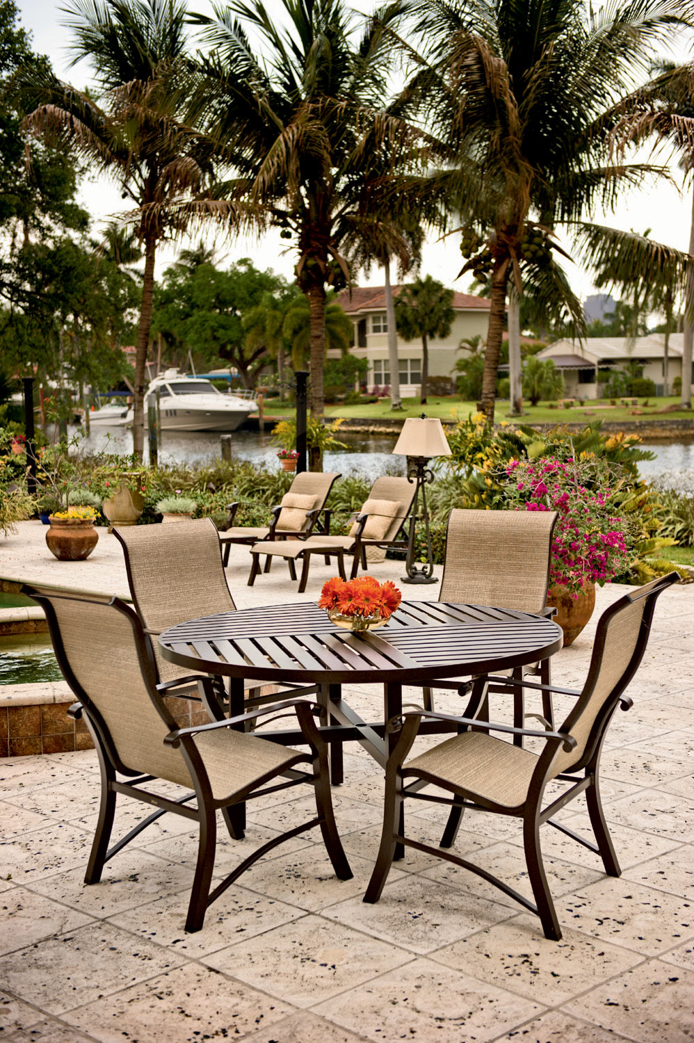 5 Pc Cortland Sling Casual Aluminum Dining Set | Woodard Outdoor Furniture  | Home Gallery