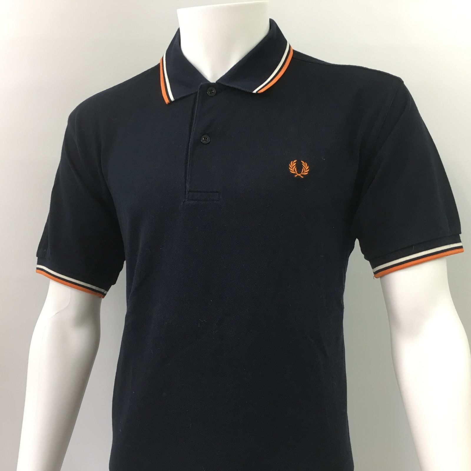 9bce3318a493 Fred Perry Mens medium 40 Polo Shirt Navy white Orange Mod Vintage casuals  £75