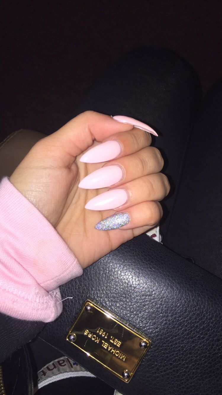 Long stiletto claw acrylic nails Light pink with glitter pinky ...