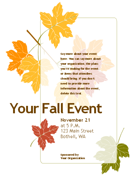 free fall event flyer templates rai family pinterest event