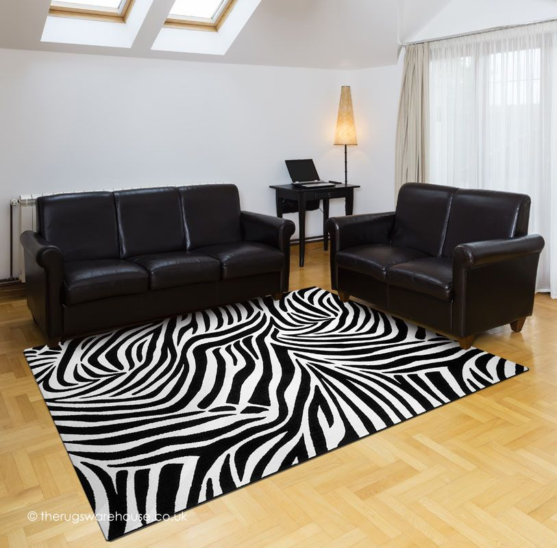 Jungle Zebra Black Rug A White Print Machine Woven Microfiber Polyester