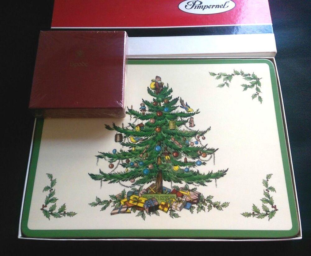 Details about Spode CHRISTMAS TREE Set Of 6 Pimpernel Cork