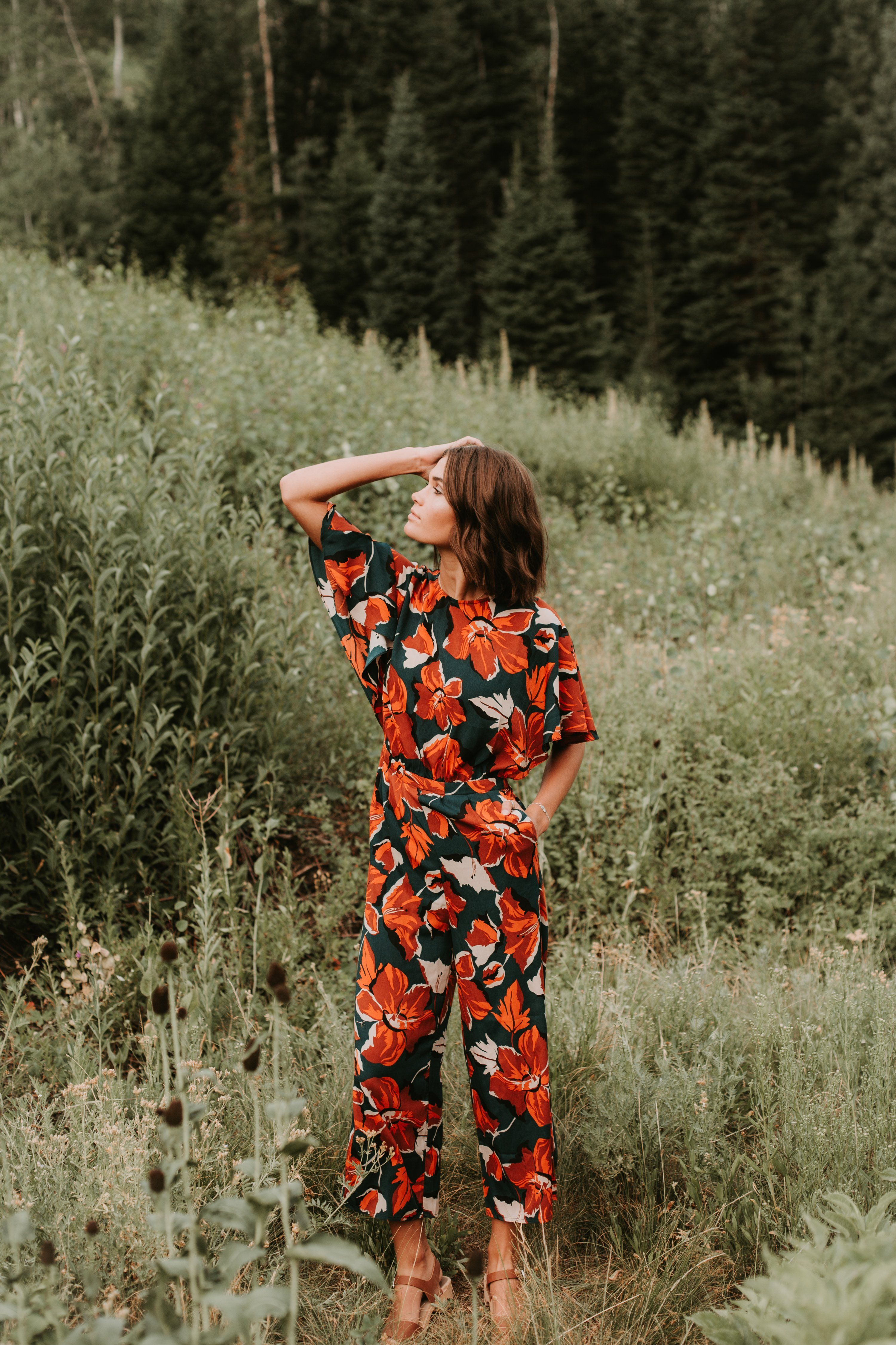dc0ce40a063 The Levine Floral Jumpsuit in Emerald – Piper   Scoot