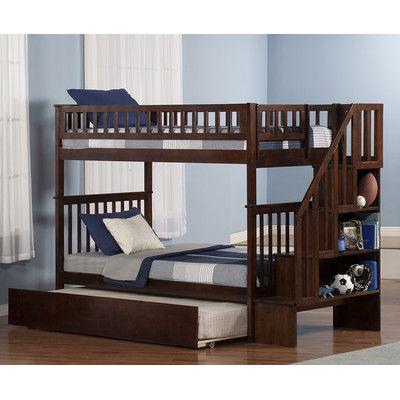 Letti A Castello Woodland.Atlantic Furniture Woodland Twin Over Twin Bunk Bed With Twin Urban Lifestyle Trundle And Staircase Habitaciones Pequenas Dormitorios Recamaras Dormitorios