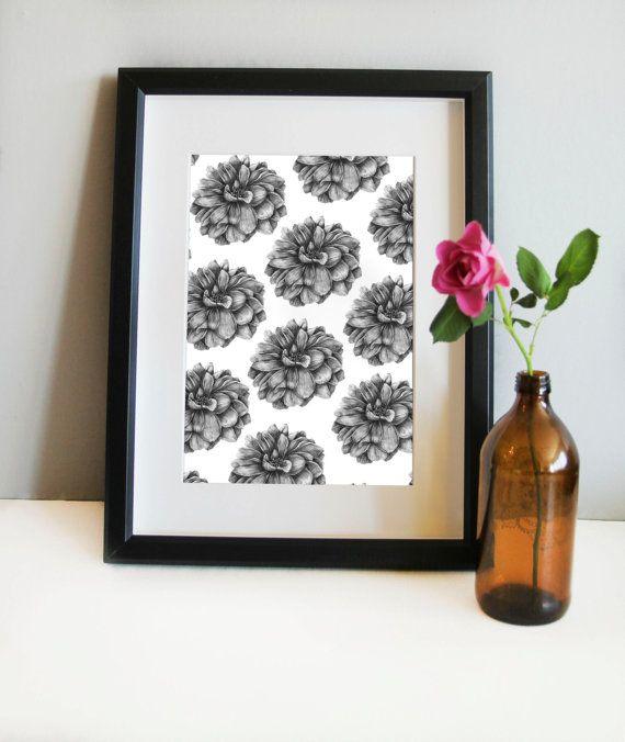 Flower illustration patterns art prints home by annmarireigstad
