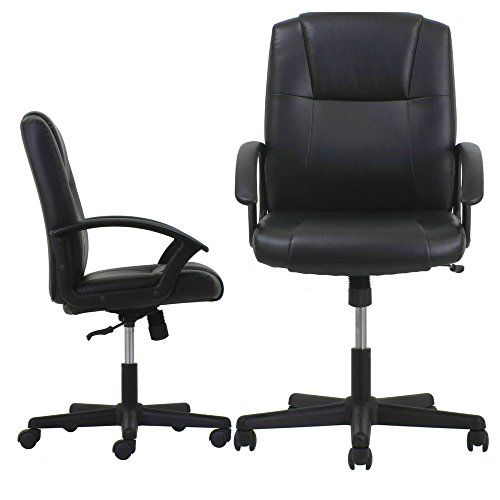 Rolled Arm Chair Leather Mid Back Executive Swivel Office Tilt Adjule Computer Desk Task Rolling Ergonomic Comfortable Contemporary