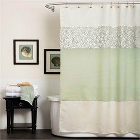 40 Surf Green And Cream Fabric Shower Curtain By Triangle Home Fashions