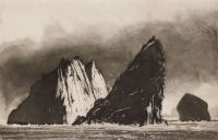Norman Ackroyd Stac an Armin - Evening   one of the country's most celebrated landscape artists, awarded a CBE in 2007 for services to engraving and printmaking.   featured on bbc documentary series What Do Artists Do All Day?