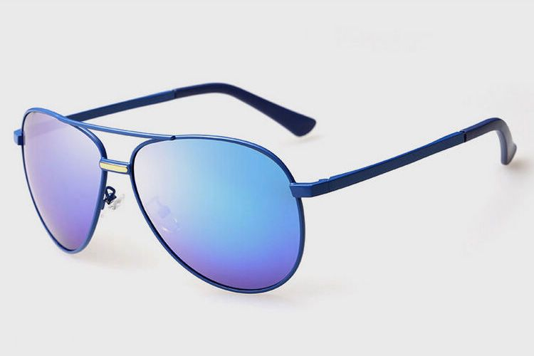 f061bcaa74 Blue Metal Frame Polaroid Blue Polarized Pilot Sunglasses ...