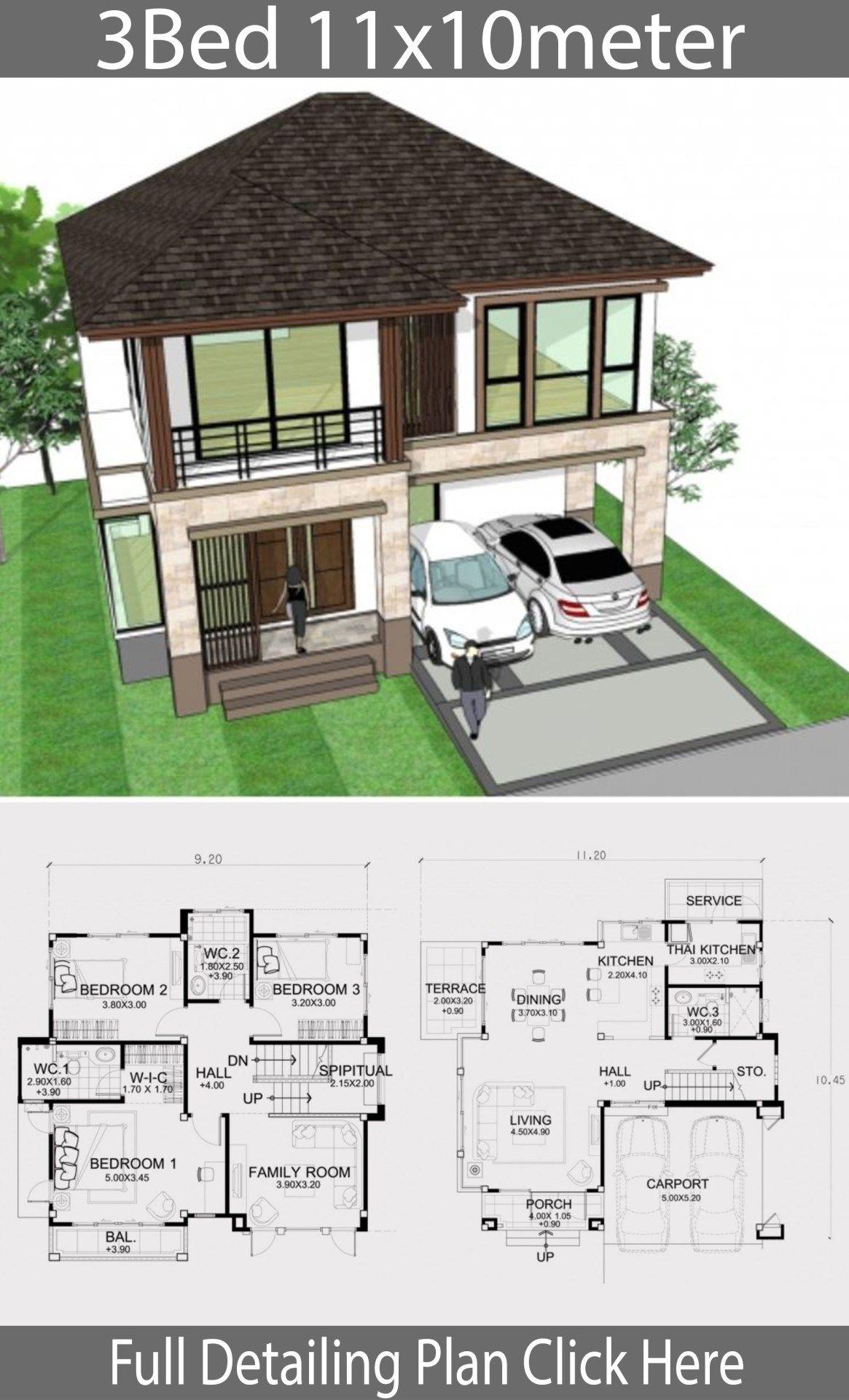 Home Design Plan 11x10m With 3 Bedrooms Home Design With Plansearch House Design Home Design Plan Home Design Plans