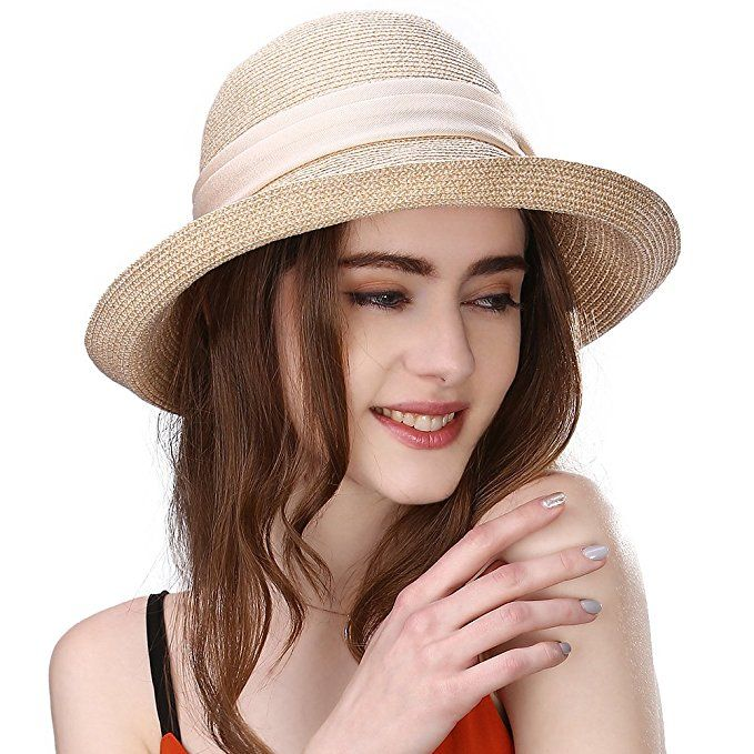9d76238b3f6 Siggi Womens Floppy Summer Sun Beach Straw Hats Accessories Wide Brim  Foldable Beige 57cm (56