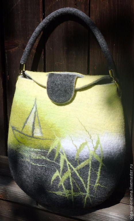 df5ace2956ef Купить Cумка Жёлтая река. - лимонный, жёлто-зелёный, тростник, лодка ...