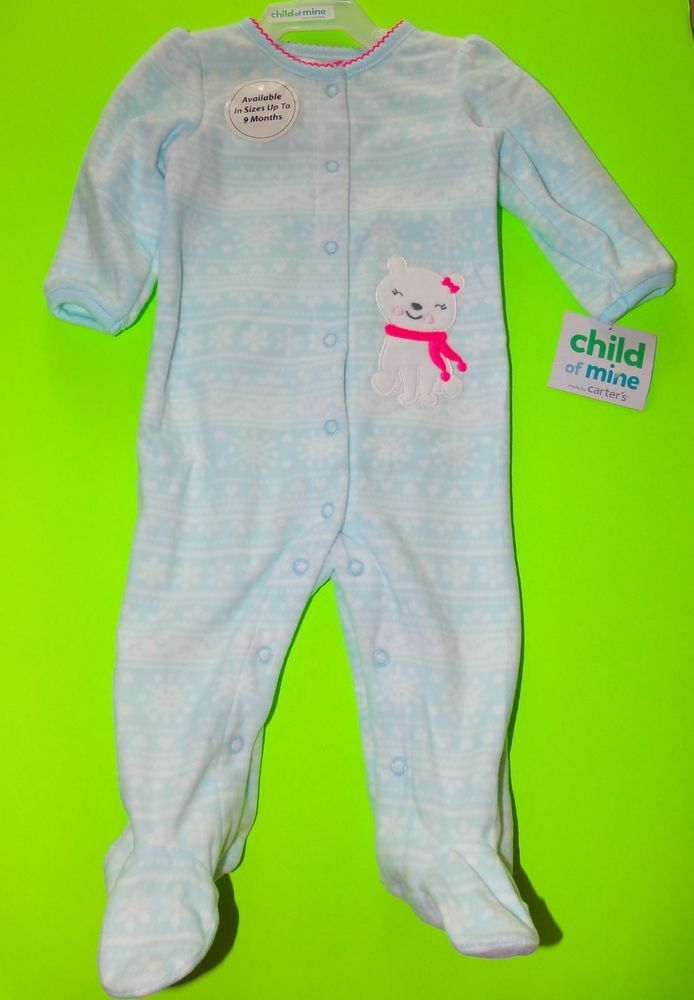 4aef63fd1ef3 Child Of Mine Carter s Blue White Polar Bear Fleece Footed Sleeper ...
