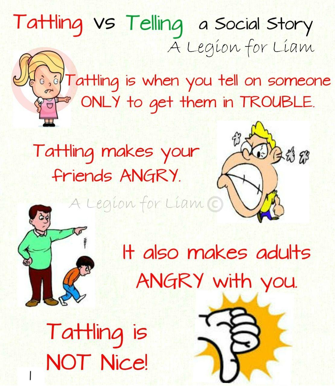 Tattling vs Telling a social story … Social skills