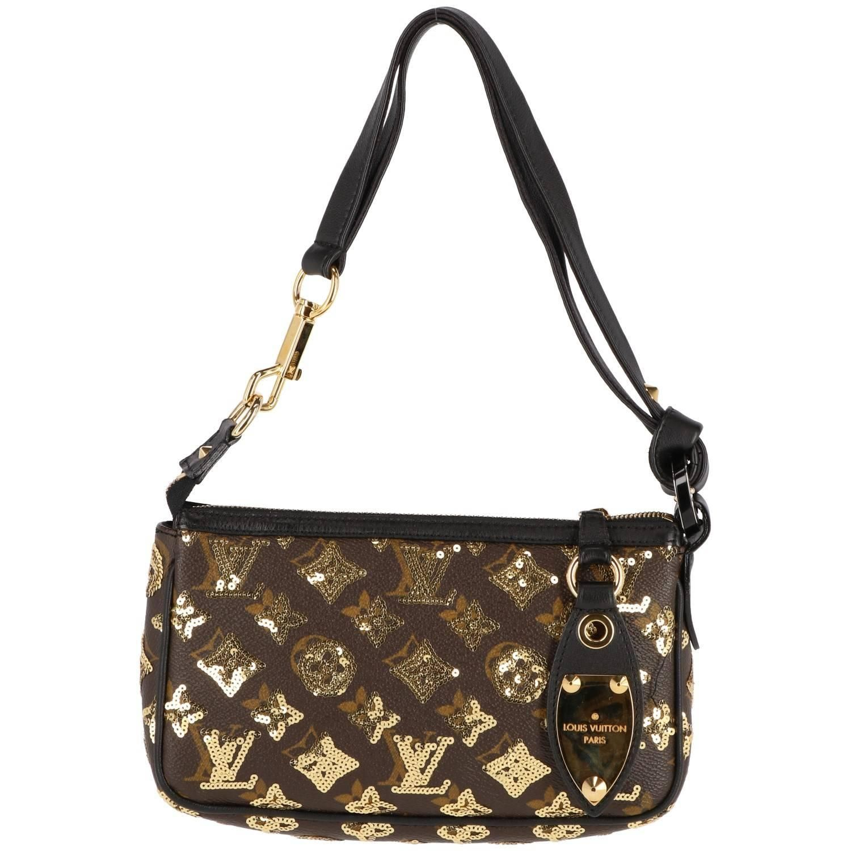 Louis Vuitton 2000 S Vintage Monogram Sequined Clutch 1 742 Black Backpack Purse Luxury Purses Fashion Bags