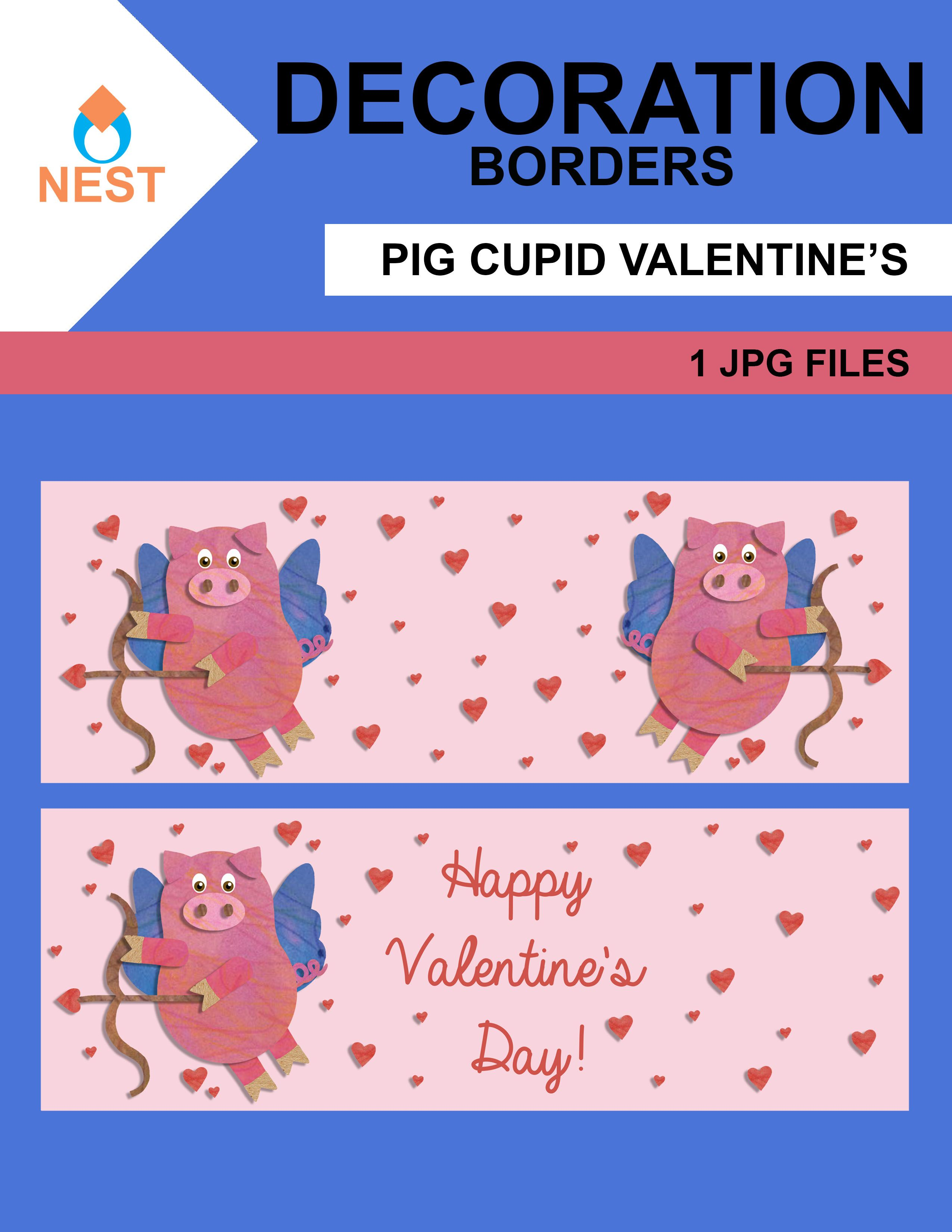 Pig Cupid Valentine S Day Border In