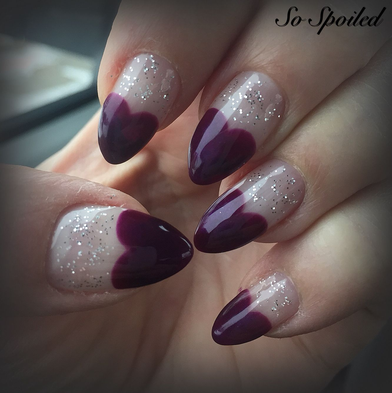 Bio Sculpture Gel Nail Art & Design. Valentine' Nails 2015 Purple French Hearts With Silver