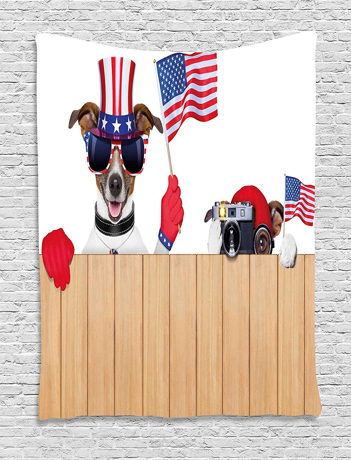 4th of July Decor Tapestry by Ambesonne, Cute Dog Wearing American ...
