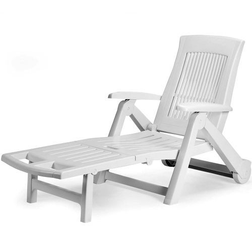 Details about White Plastic Sun Lounger Patio Reclining Sun