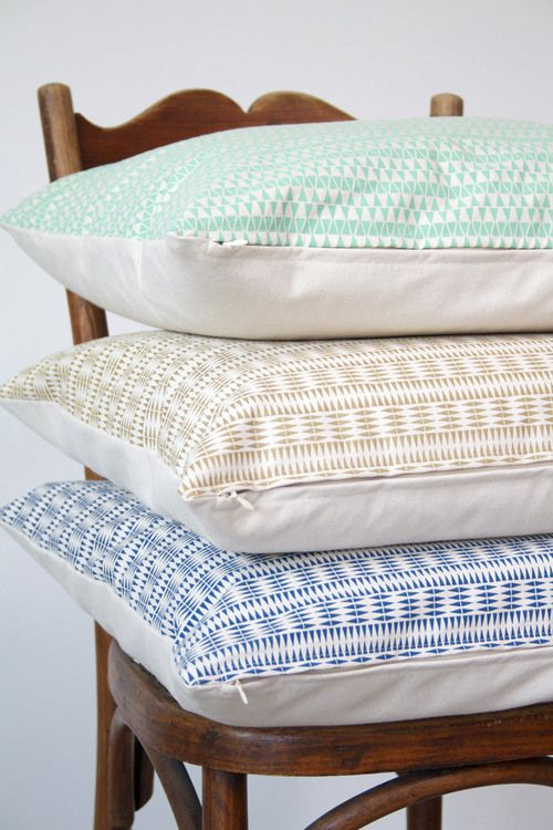 Graphic cushions from Liselotte Kerkhof. Love the colors and etnic patterns! http://ohmygoodies.eu/collections/liselotte-kerkhof