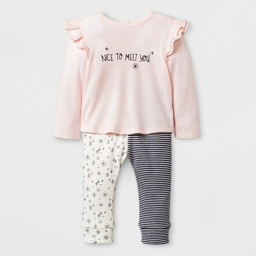fa030399ac Baby Girls  Long Sleeve Ruffle Shoulder T-Shirt and Velour Critter Leggings  - Cat   Jack Pink Newborn